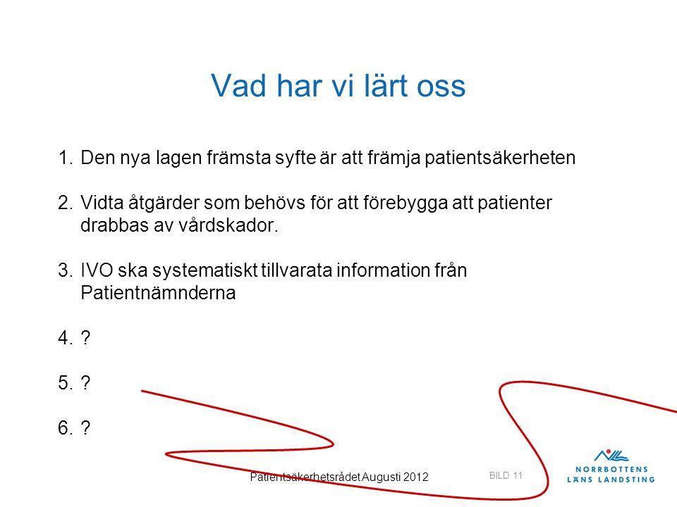 Patientsäkerhetsrådet Augusti 2012