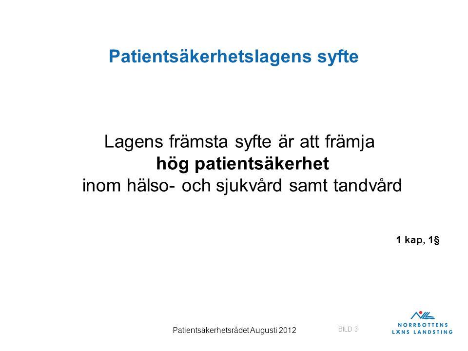 Patientsäkerhetslagens syfte