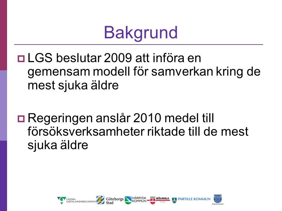Bakgrund LGS beslutar 2009 att införa en gemensam modell för samverkan kring de mest sjuka äldre.