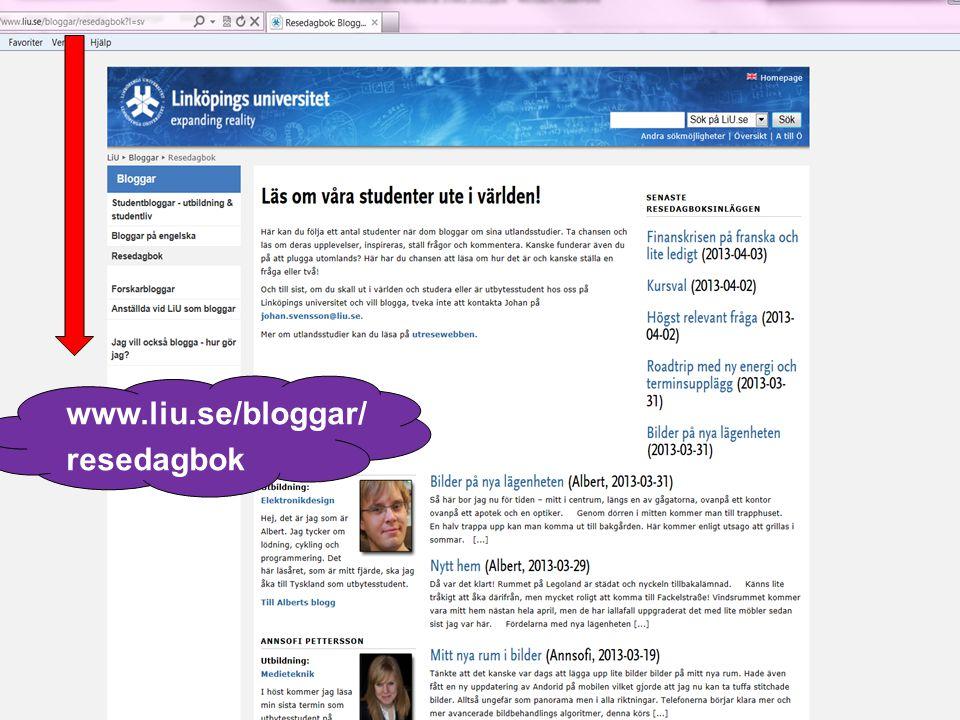 www.liu.se/bloggar/ resedagbok