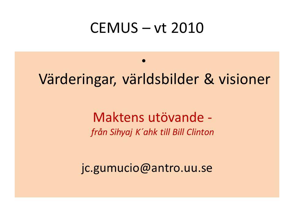 CEMUS – vt 2010 Värderingar, världsbilder & visioner Maktens utövande - från Sihyaj K´ahk till Bill Clinton.