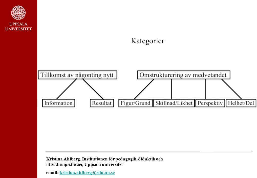 Kategorier Kristina Ahlberg, Institutionen för pedagogik, didaktik och utbildningsstudier, Uppsala universitet.
