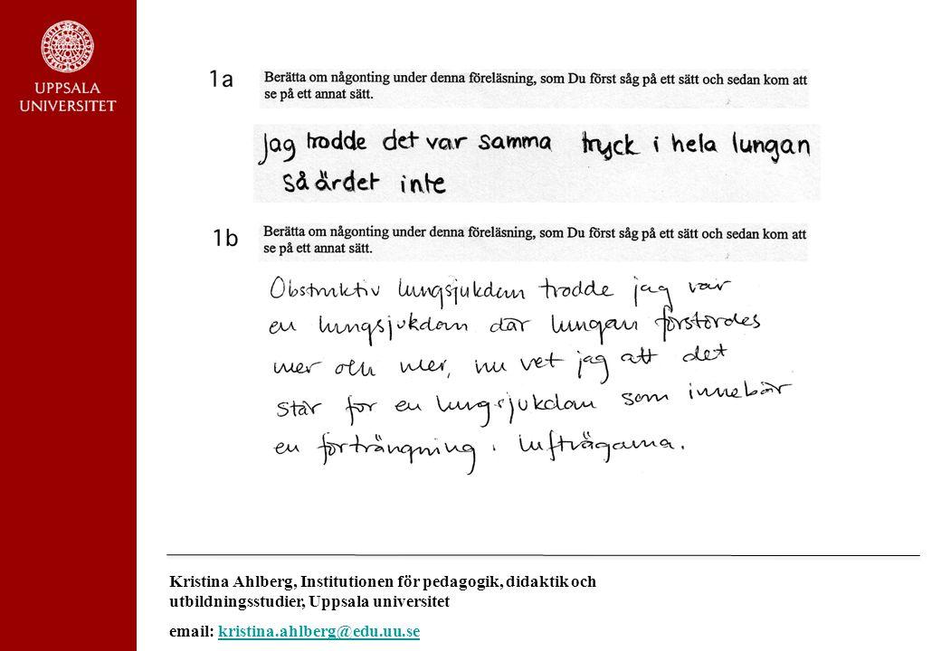 Kristina Ahlberg, Institutionen för pedagogik, didaktik och utbildningsstudier, Uppsala universitet
