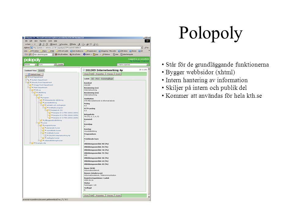 Polopoly Står för de grundläggande funktionerna