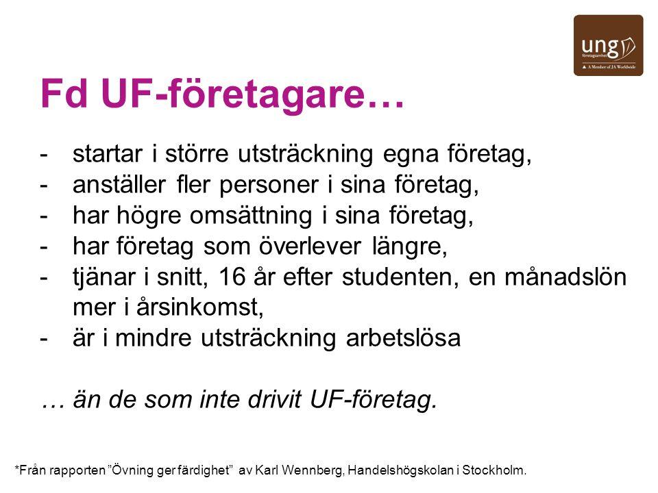 Fd UF-företagare… startar i större utsträckning egna företag,