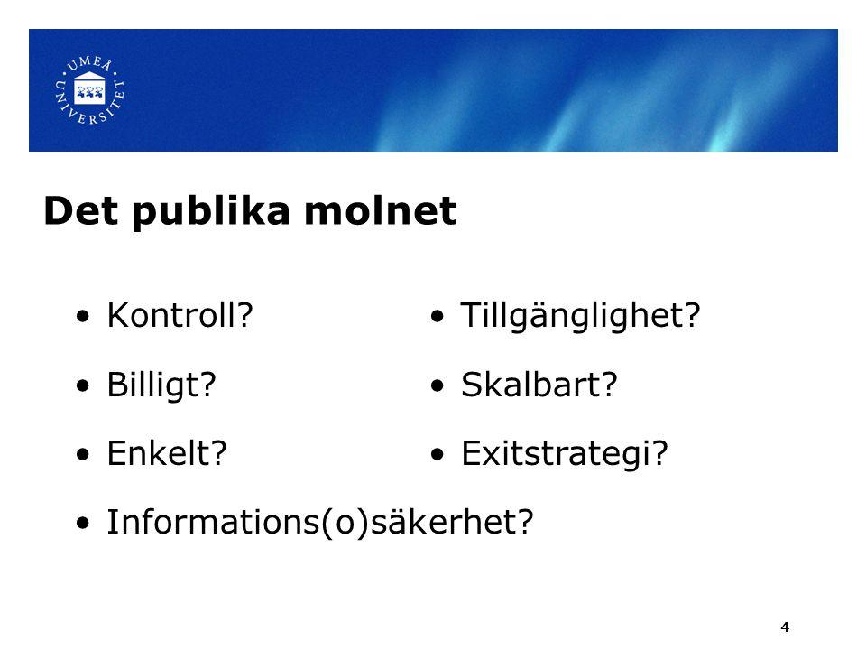 Det publika molnet Kontroll Billigt Enkelt Informations(o)säkerhet