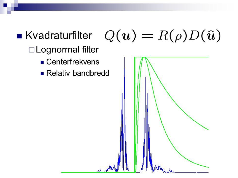 Kvadraturfilter Lognormal filter Centerfrekvens Relativ bandbredd