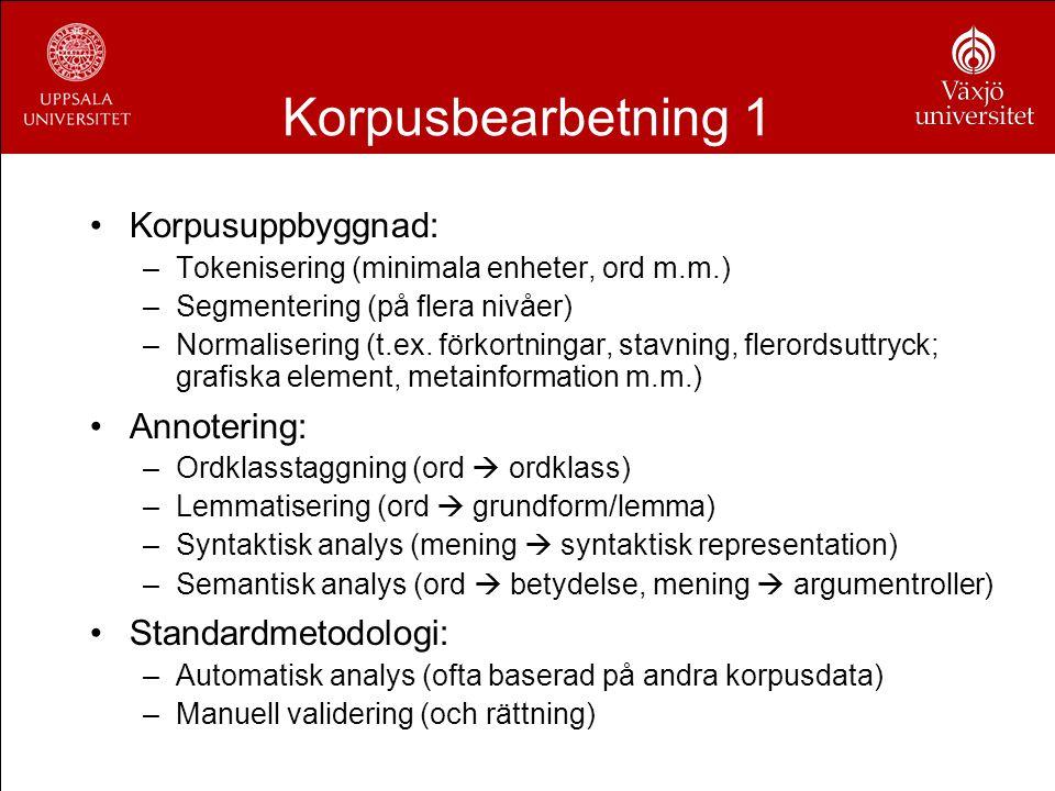 Korpusbearbetning 1 Korpusuppbyggnad: Annotering: Standardmetodologi: