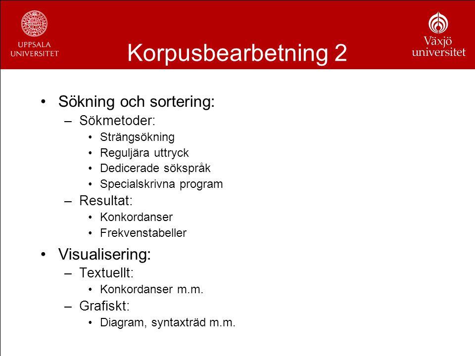 Korpusbearbetning 2 Sökning och sortering: Visualisering: Sökmetoder: