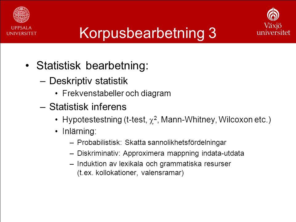 Korpusbearbetning 3 Statistisk bearbetning: Deskriptiv statistik