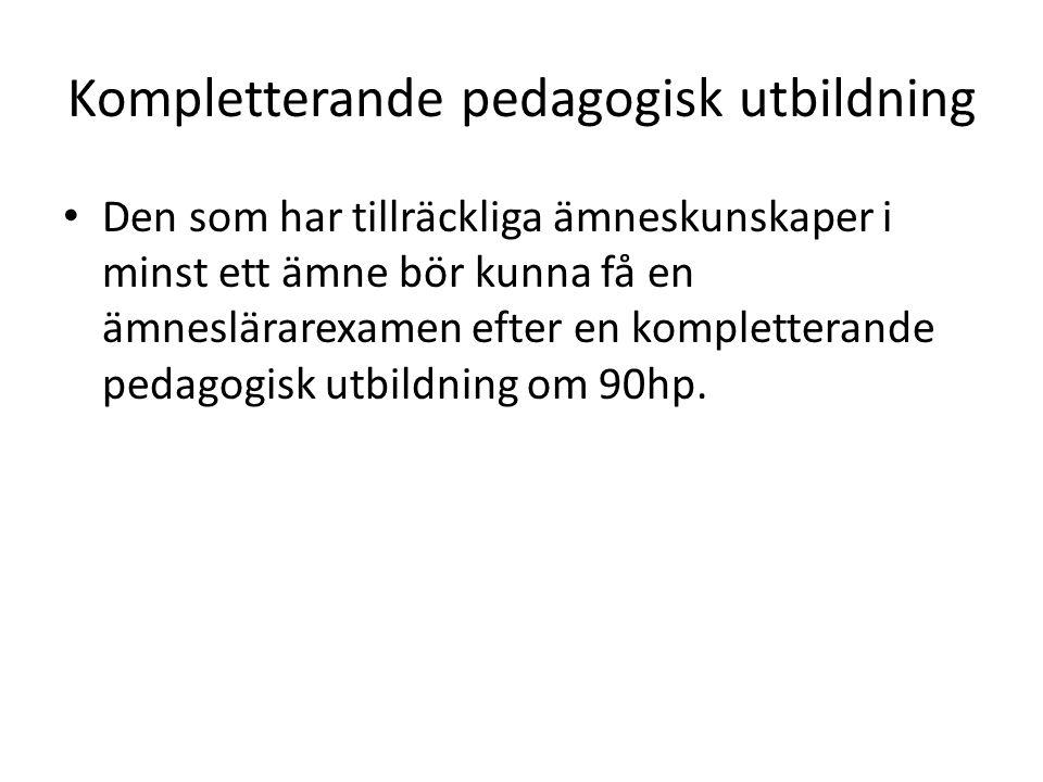 Kompletterande pedagogisk utbildning