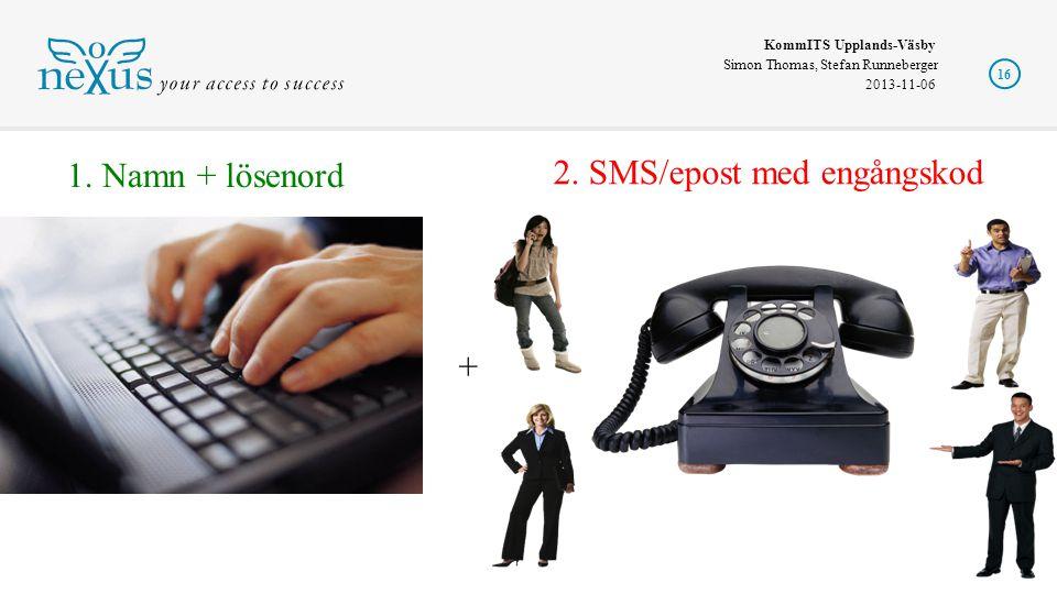 1. Namn + lösenord 2. SMS/epost med engångskod +
