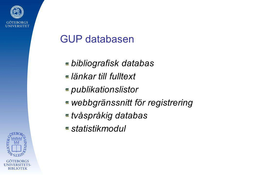 GUP databasen bibliografisk databas länkar till fulltext