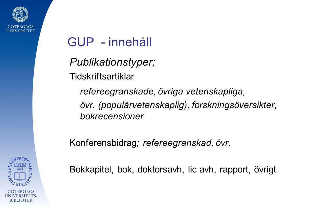 GUP - innehåll Publikationstyper;