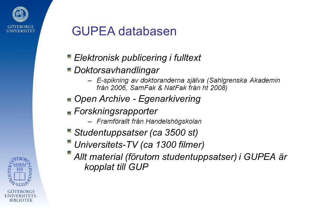 GUPEA databasen Elektronisk publicering i fulltext Doktorsavhandlingar