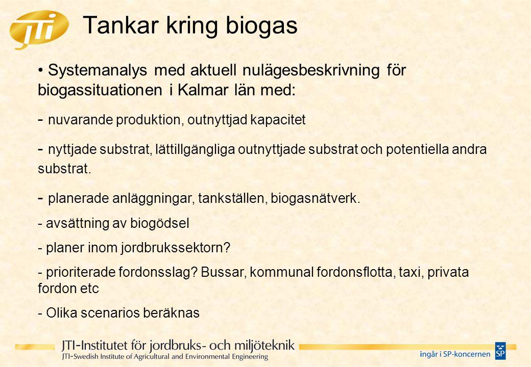 Tankar kring biogas Systemanalys med aktuell nulägesbeskrivning för biogassituationen i Kalmar län med: