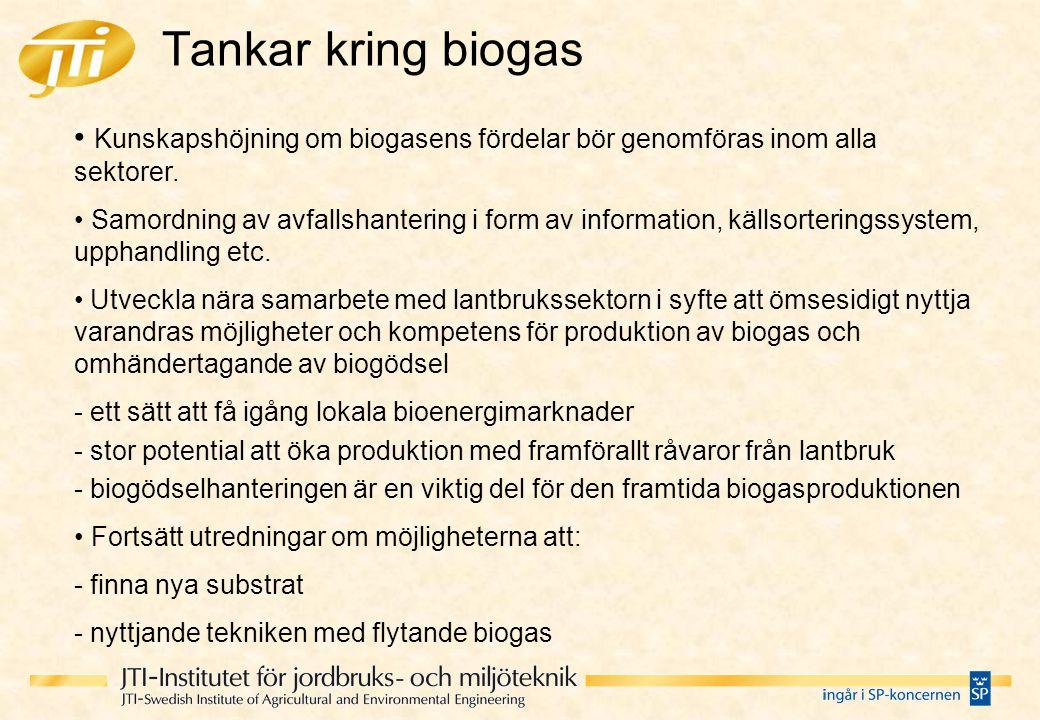 Tankar kring biogas • Kunskapshöjning om biogasens fördelar bör genomföras inom alla sektorer.