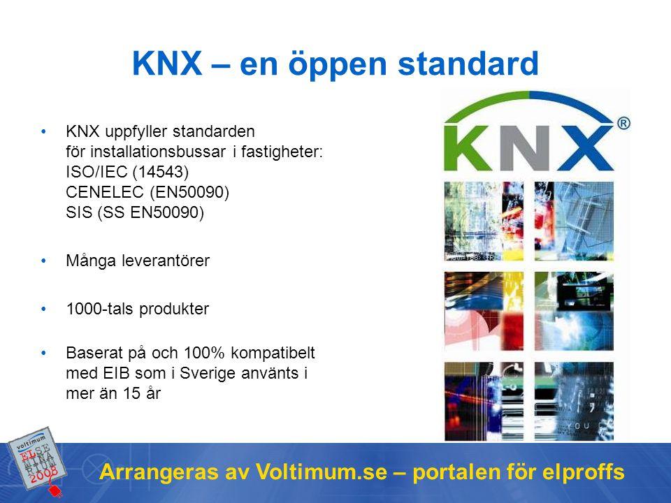 KNX – en öppen standard KNX uppfyller standarden för installationsbussar i fastigheter: ISO/IEC (14543) CENELEC (EN50090) SIS (SS EN50090)