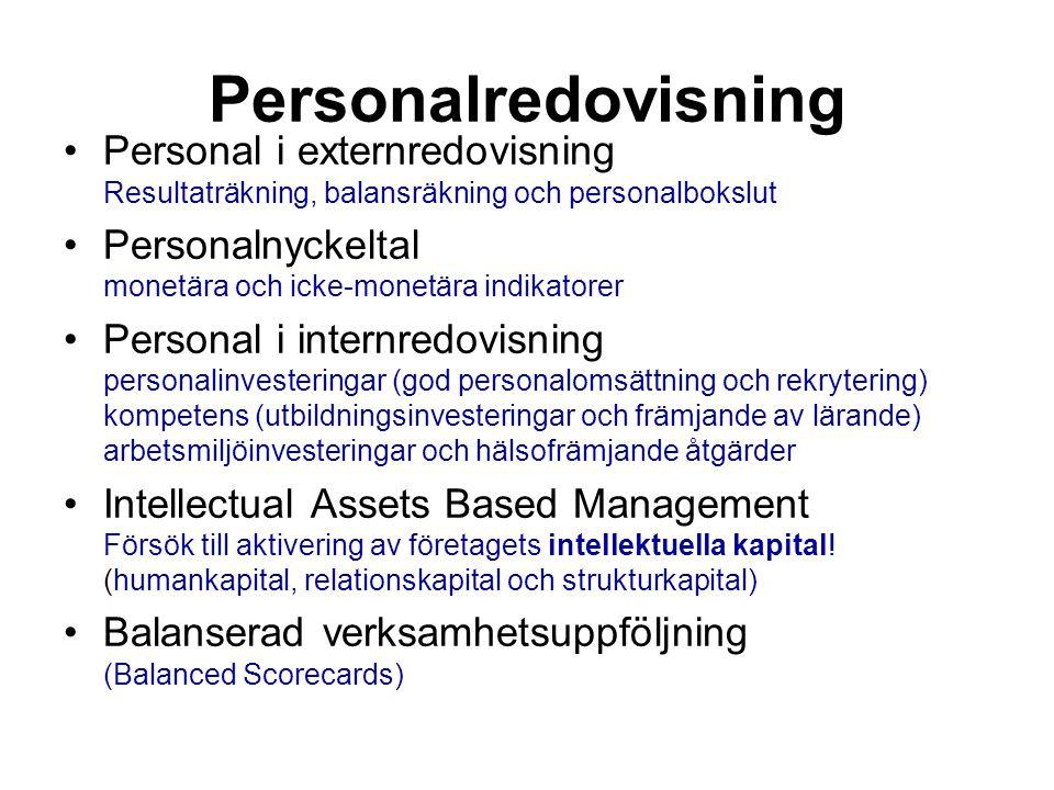 Personalredovisning Personal i externredovisning Resultaträkning, balansräkning och personalbokslut.