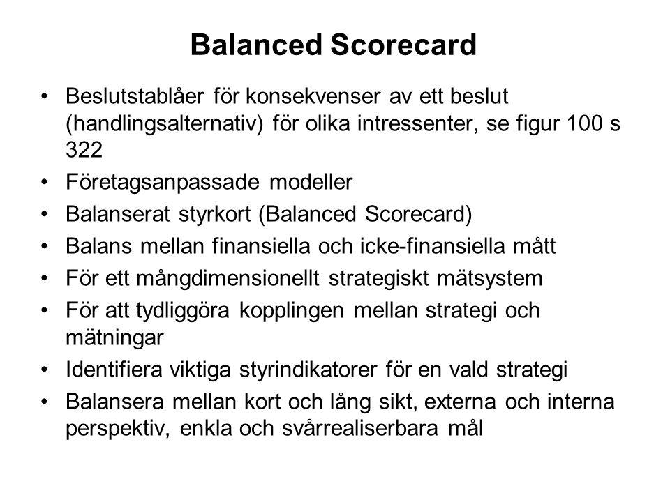 Balanced Scorecard Beslutstablåer för konsekvenser av ett beslut (handlingsalternativ) för olika intressenter, se figur 100 s 322.