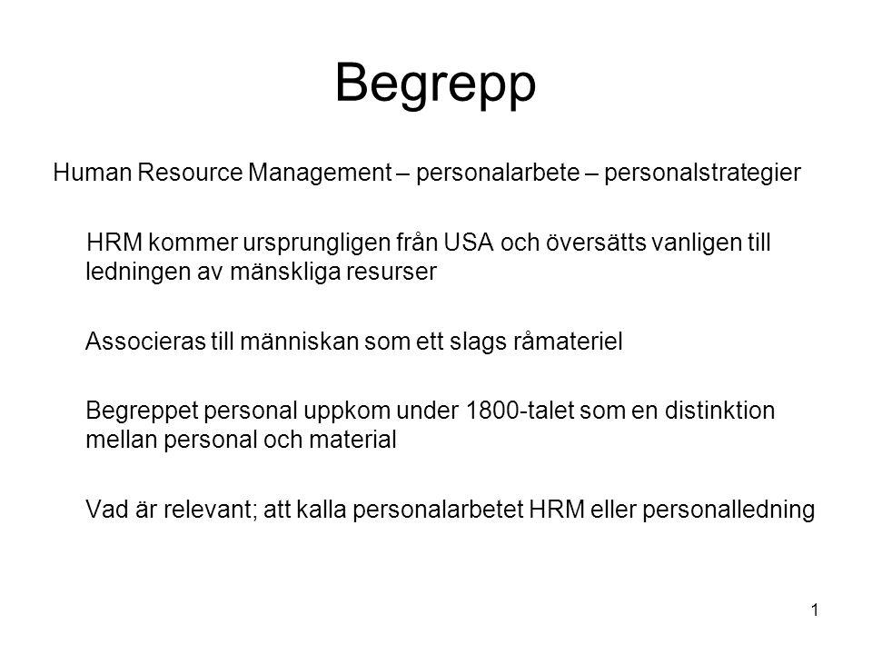 Begrepp Human Resource Management – personalarbete – personalstrategier.
