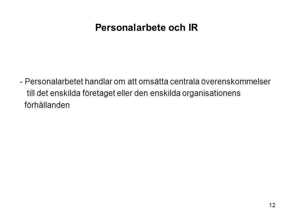 Personalarbete och IR - Personalarbetet handlar om att omsätta centrala överenskommelser.