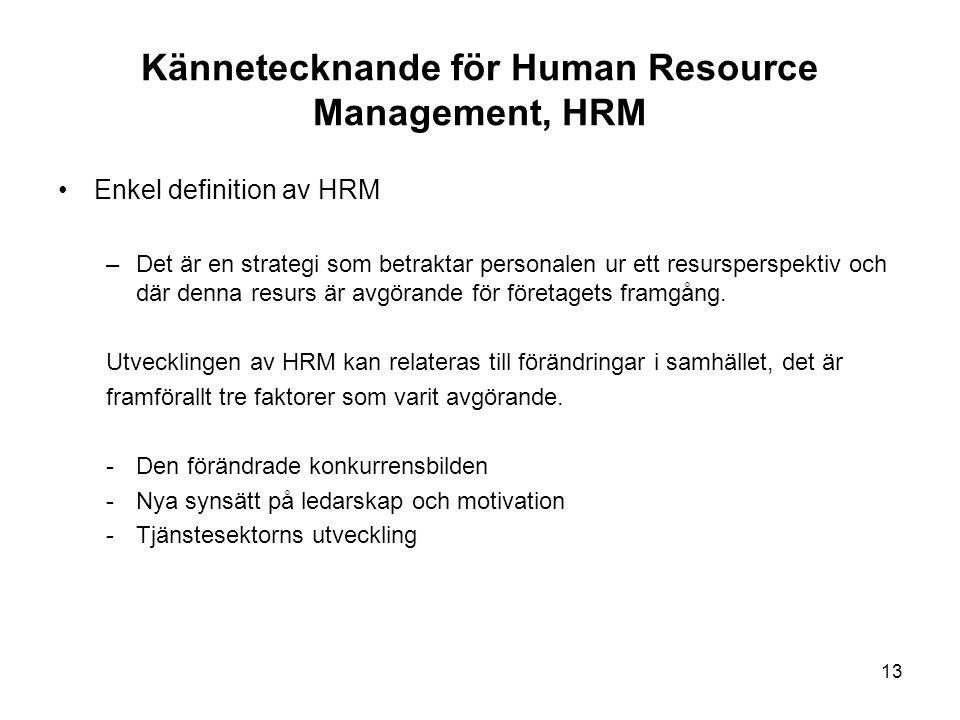 Kännetecknande för Human Resource Management, HRM