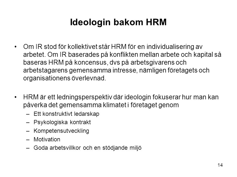Ideologin bakom HRM