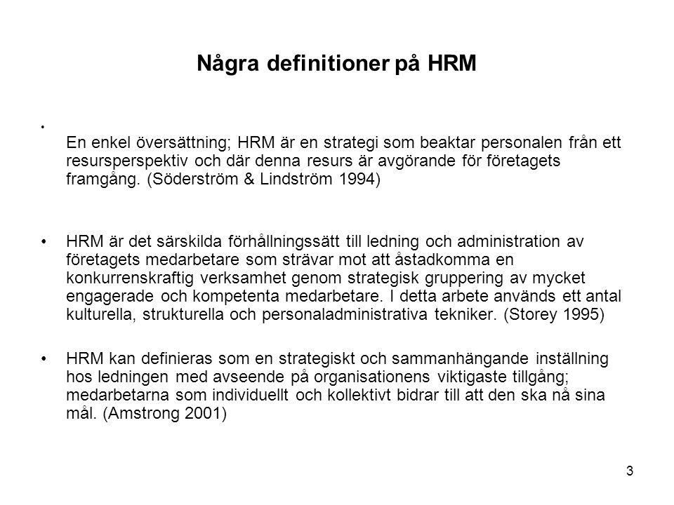 Några definitioner på HRM