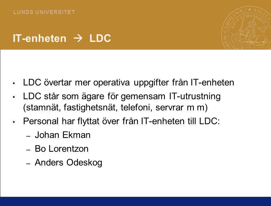 IT-enheten  LDC LDC övertar mer operativa uppgifter från IT-enheten