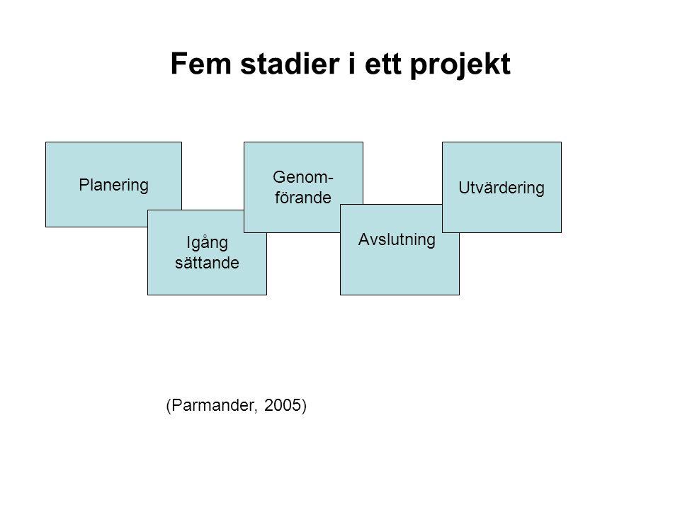 Fem stadier i ett projekt