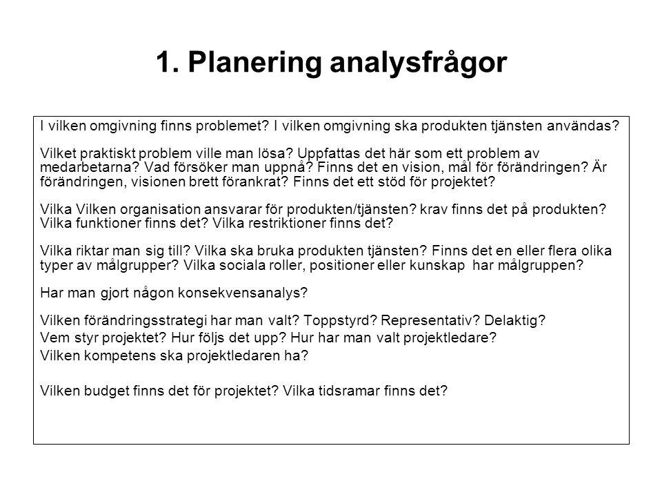 1. Planering analysfrågor