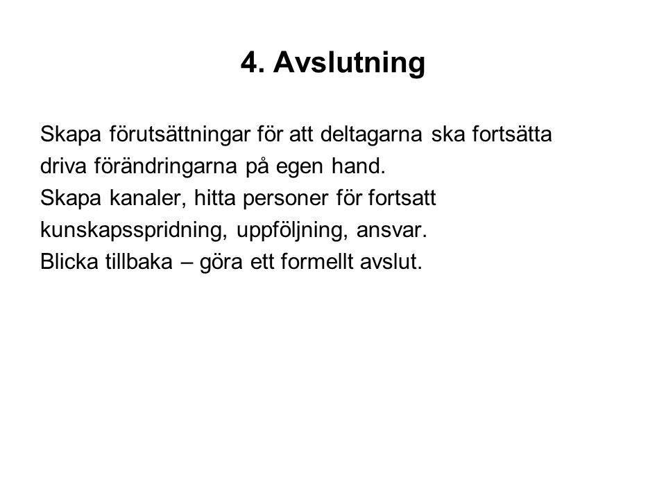 4. Avslutning Skapa förutsättningar för att deltagarna ska fortsätta