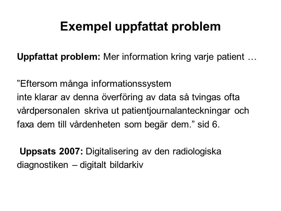 Exempel uppfattat problem