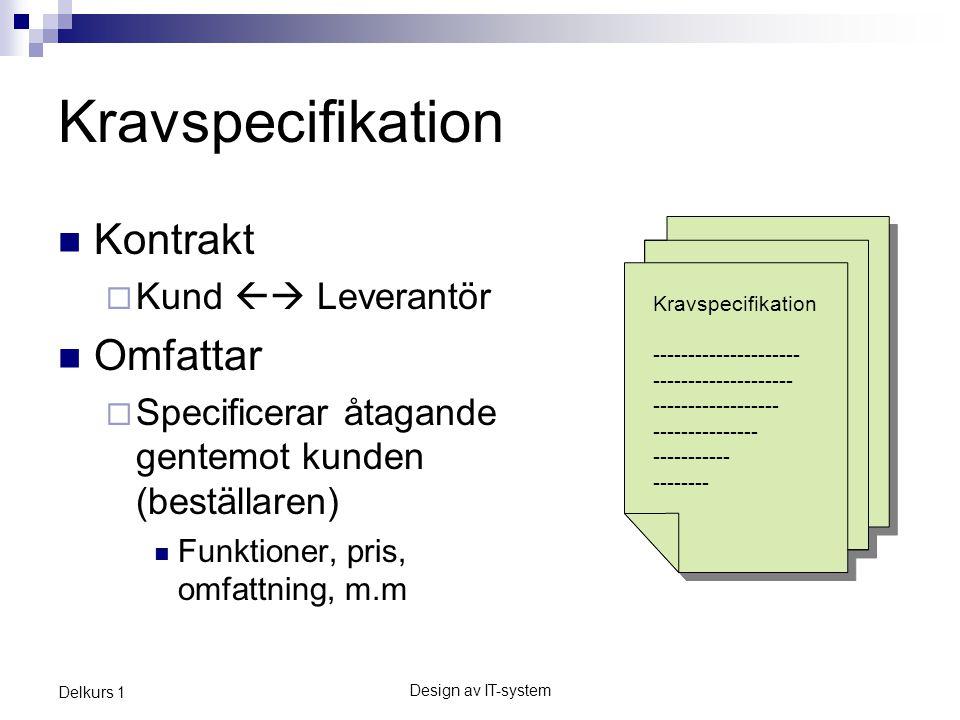 Kravspecifikation Kontrakt Omfattar Kund  Leverantör