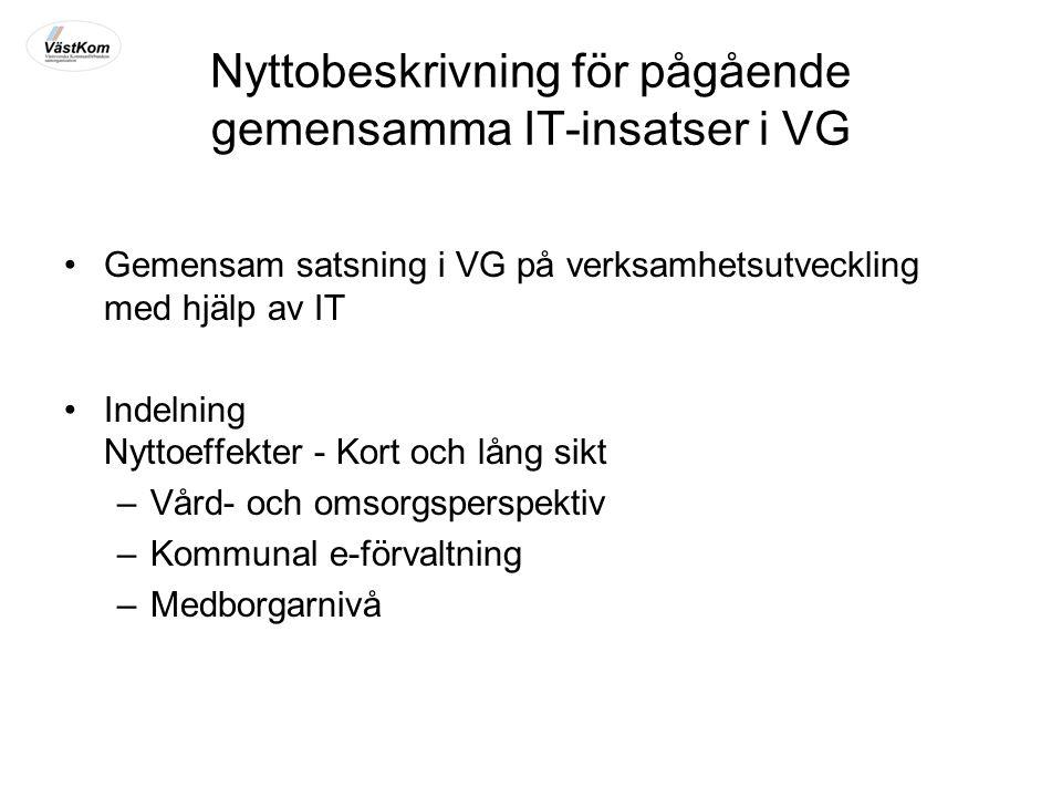 Nyttobeskrivning för pågående gemensamma IT-insatser i VG