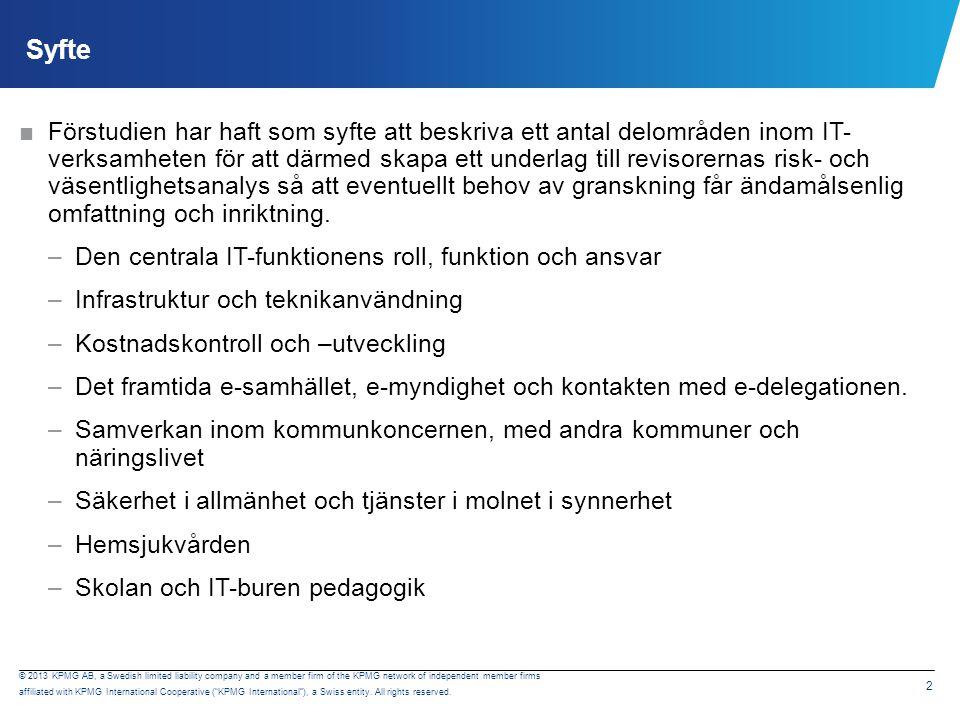 Metod Underlaget till förstudien har bestått av intervjuer samt dokumentstudier. Övergripande frågor per delområde: