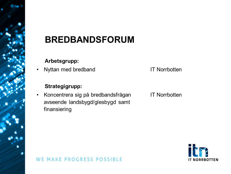 BREDBANDSFORUM Arbetsgrupp: Nyttan med bredband IT Norrbotten
