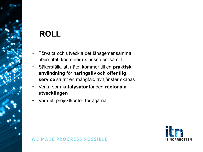 ROLL Förvalta och utveckla det länsgemensamma fibernätet, koordinera stadsnäten samt IT.