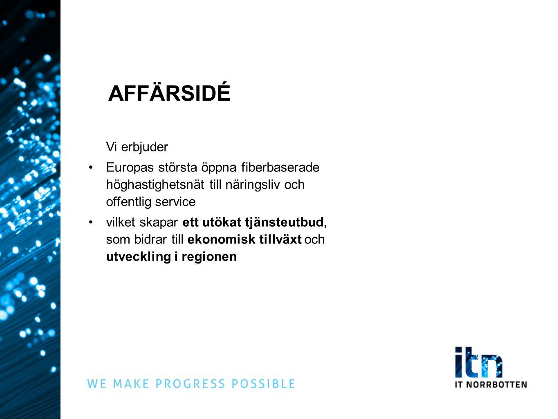 AFFÄRSIDÉ Vi erbjuder. Europas största öppna fiberbaserade höghastighetsnät till näringsliv och offentlig service.