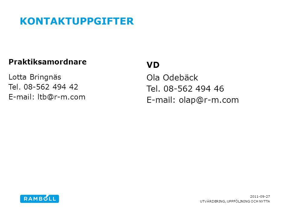 Kontaktuppgifter VD Ola Odebäck Tel. 08-562 494 46