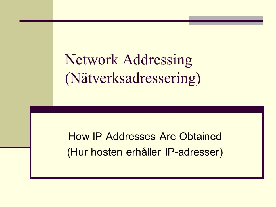 Network Addressing (Nätverksadressering)