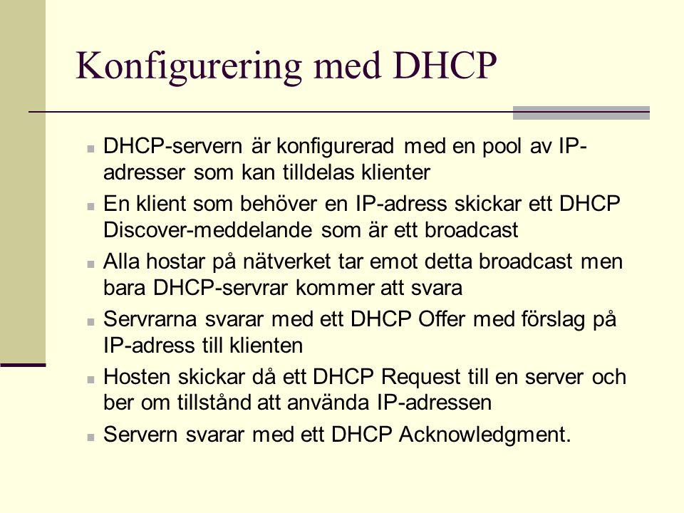 Konfigurering med DHCP