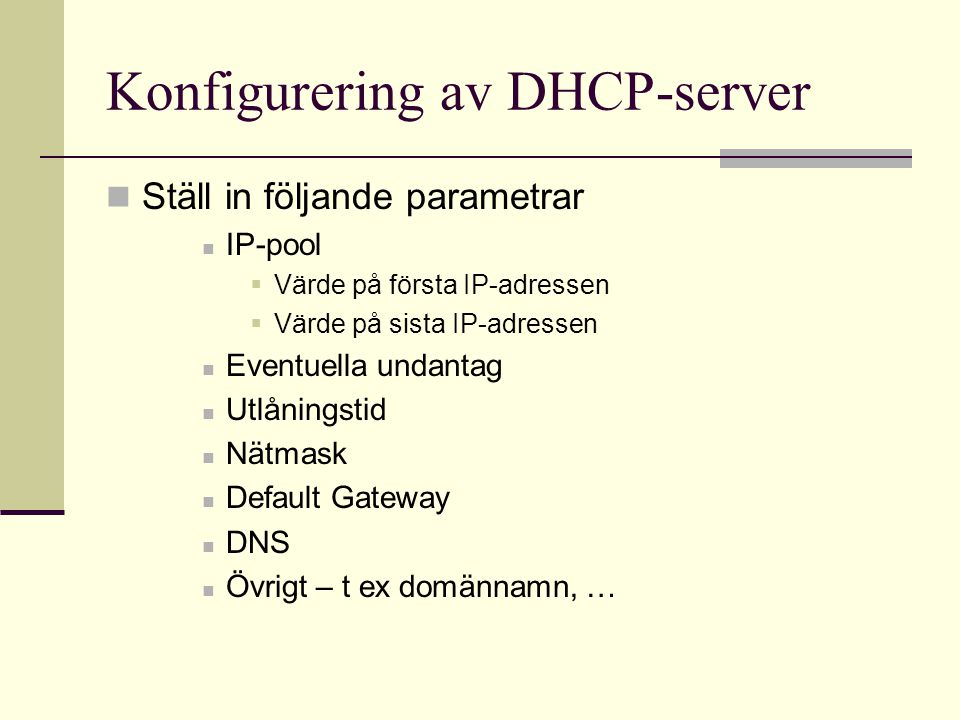 Konfigurering av DHCP-server