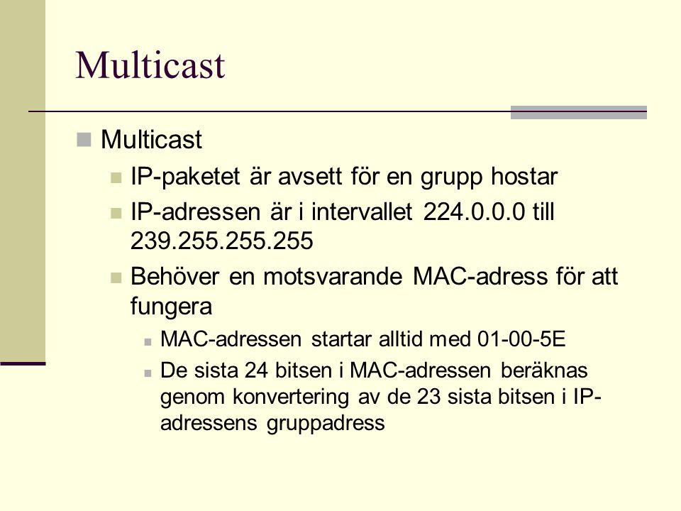 Multicast Multicast IP-paketet är avsett för en grupp hostar
