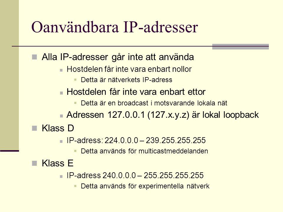 Oanvändbara IP-adresser