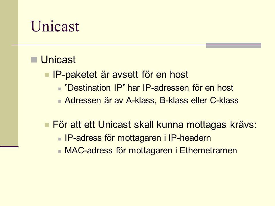 Unicast Unicast IP-paketet är avsett för en host