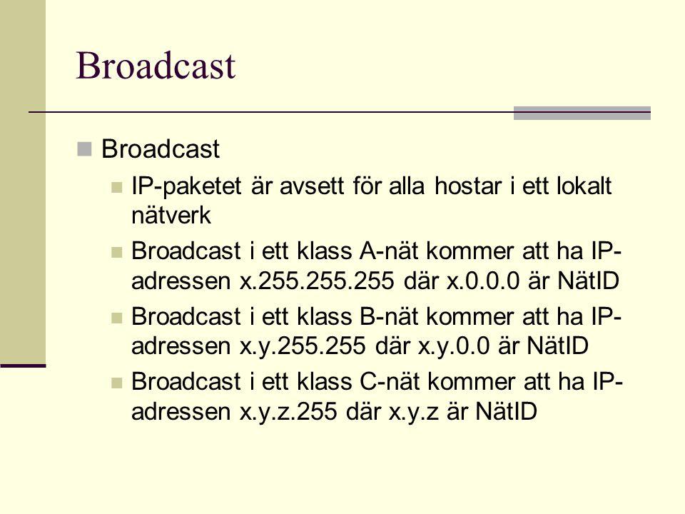 Broadcast Broadcast. IP-paketet är avsett för alla hostar i ett lokalt nätverk.