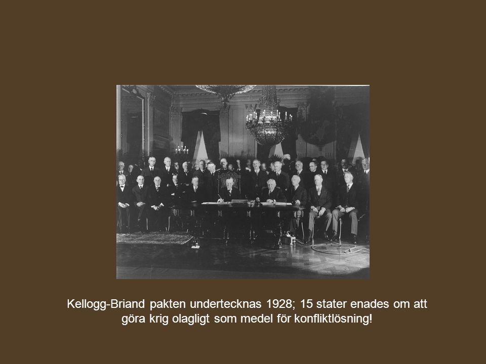 Kellogg-Briand pakten undertecknas 1928; 15 stater enades om att