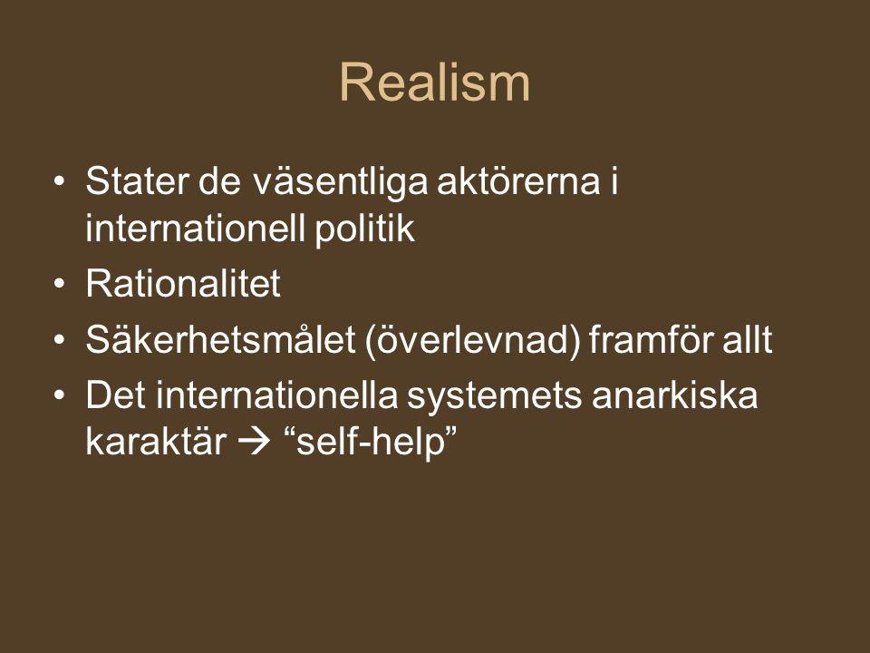 Realism Stater de väsentliga aktörerna i internationell politik
